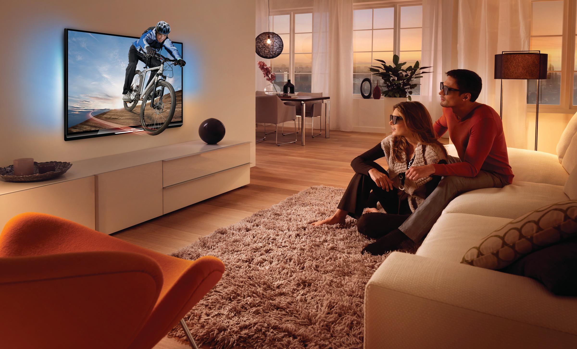 активную рамку с технологией ambilight, которая создает свечение вокруг телевизора