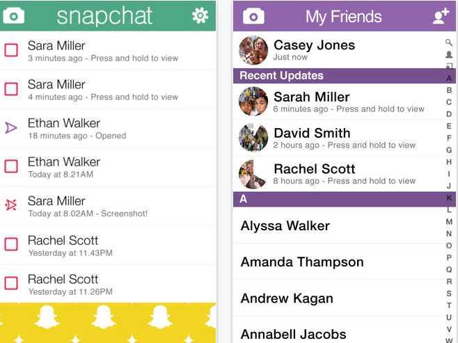 Celebrities Snapchat Names